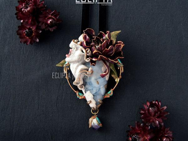 ВИДЕО. Кулон Desire из полимерной глины, скульптура, цветок пион, халцедон | Ярмарка Мастеров - ручная работа, handmade