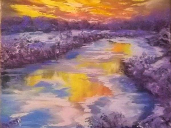 Как написать маслом зимний пейзаж с закатом | Ярмарка Мастеров - ручная работа, handmade