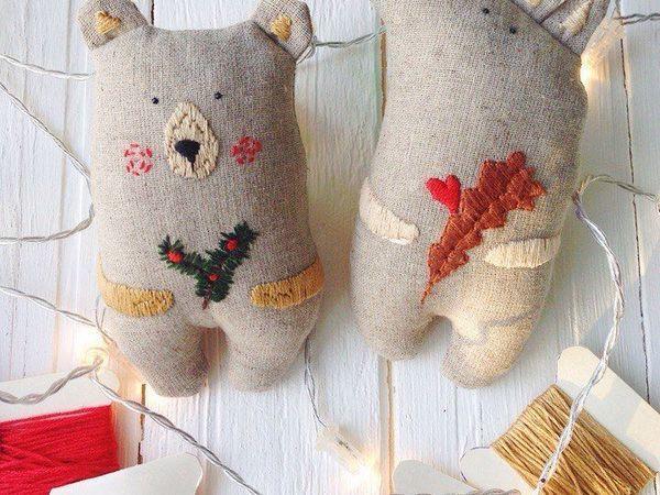 Шьем в подарок текстильные игрушки «Лисичка и Медведь» | Ярмарка Мастеров - ручная работа, handmade