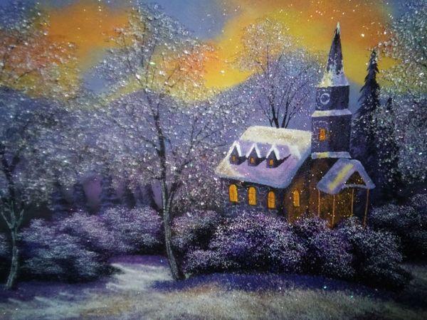 Картина из каменной крошки  «Зимний вечер» | Ярмарка Мастеров - ручная работа, handmade