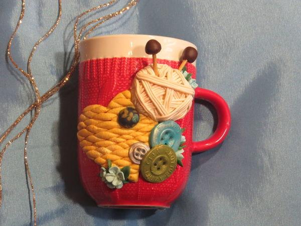 Подарок мамам и бабушкам на 8 Марта. Декор кружки полимерной глиной | Ярмарка Мастеров - ручная работа, handmade
