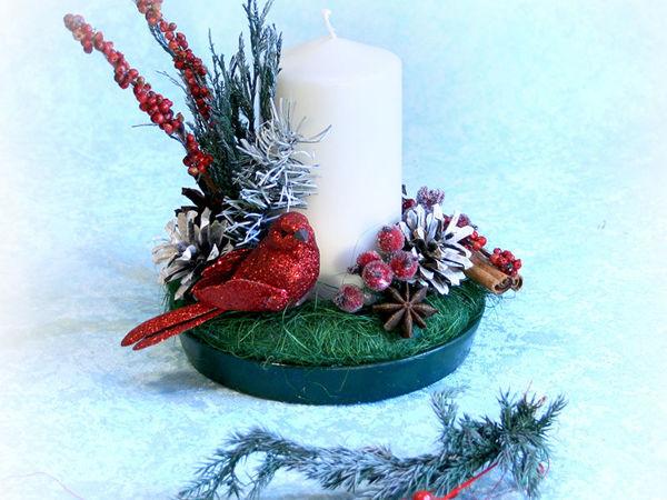 Мастерим новогоднюю свечу с птицей | Ярмарка Мастеров - ручная работа, handmade