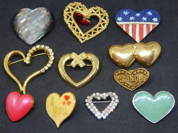 Лот винтажных брошей  «Сердечки» | Ярмарка Мастеров - ручная работа, handmade
