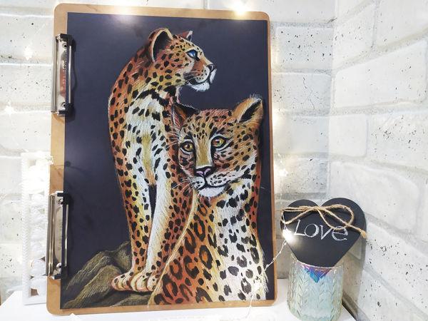 Рисуем леопардов масляной пастелью | Ярмарка Мастеров - ручная работа, handmade