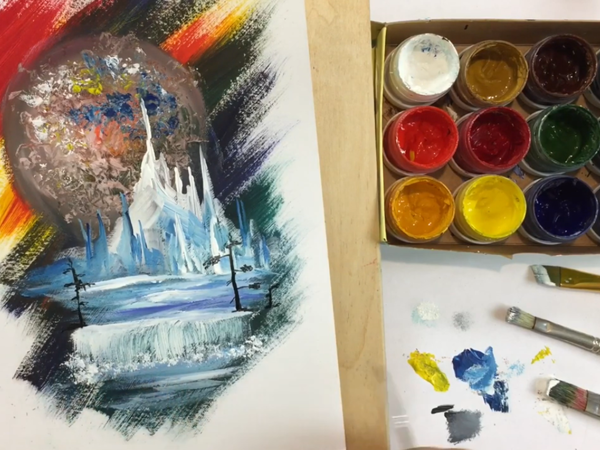 Painting Space Postcard in 15 Minutes | Livemaster - handmade