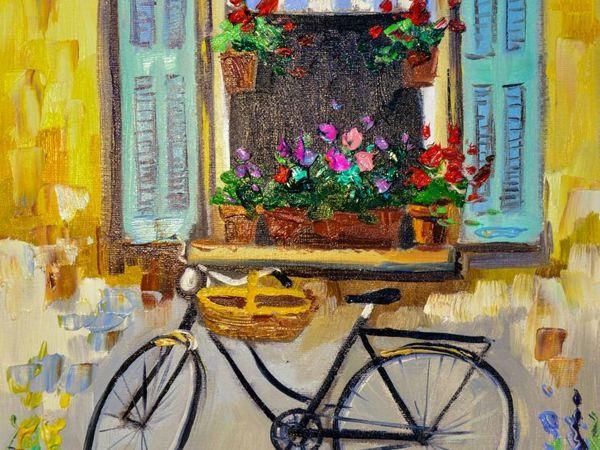 Рисуем маслом пейзаж с велосипедом | Ярмарка Мастеров - ручная работа, handmade