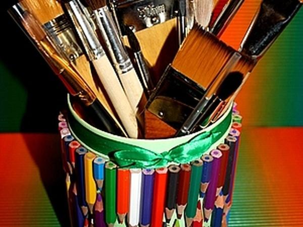 Декорируем баночку для кистей | Ярмарка Мастеров - ручная работа, handmade