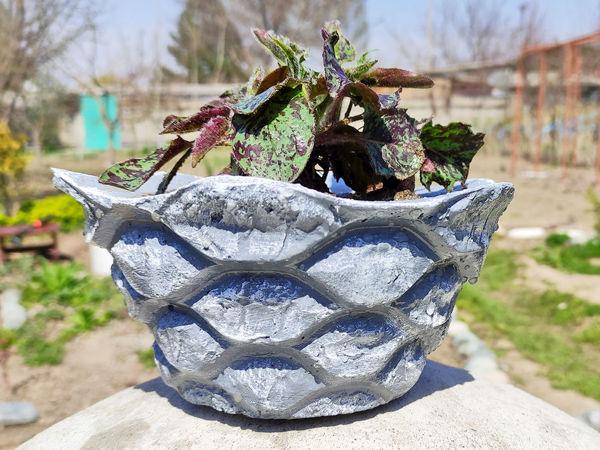 Необычный вазон для сада и дачи из песка и цемента   Ярмарка Мастеров - ручная работа, handmade