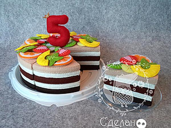 Готовим фруктовый торт-конструктор из фетра для детей | Ярмарка Мастеров - ручная работа, handmade