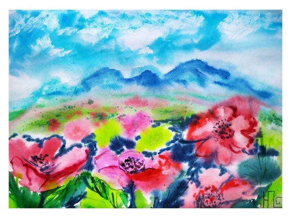 Пишем акварелью луговые цветы | Ярмарка Мастеров - ручная работа, handmade