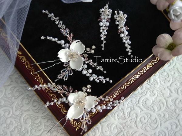 Мастерим шпильки, украшенные белым цветком и бусинами | Ярмарка Мастеров - ручная работа, handmade