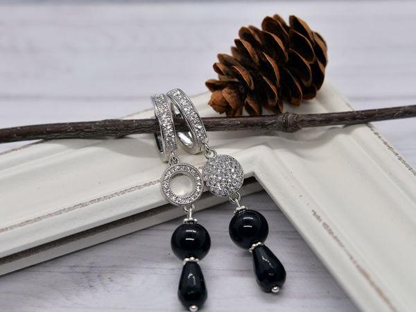Новинка: серьги с черными агатами | Ярмарка Мастеров - ручная работа, handmade