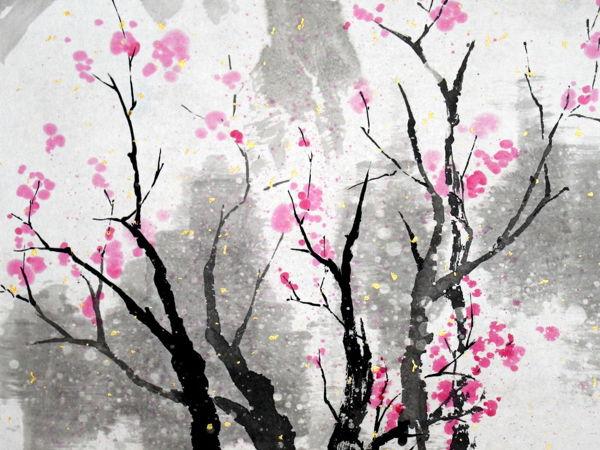 Рисуем пейзаж в японском стиле с цветущей сакурой | Ярмарка Мастеров - ручная работа, handmade