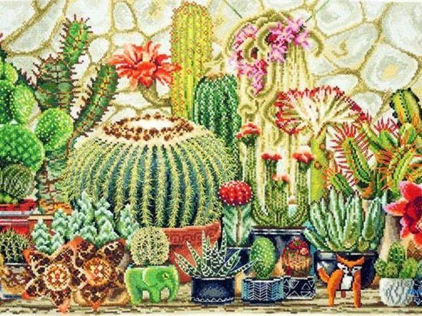 Колючие кактусы в вышивке | Ярмарка Мастеров - ручная работа, handmade