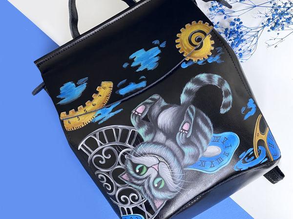 Видео рюкзака с ручной росписью Чеширский кот | Ярмарка Мастеров - ручная работа, handmade