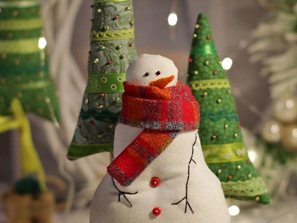Создаём новогоднюю композицию: Снеговик и Елочки | Ярмарка Мастеров - ручная работа, handmade