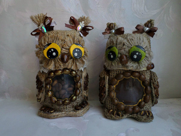 Декорируем баночку «Совушка кофейная» | Ярмарка Мастеров - ручная работа, handmade