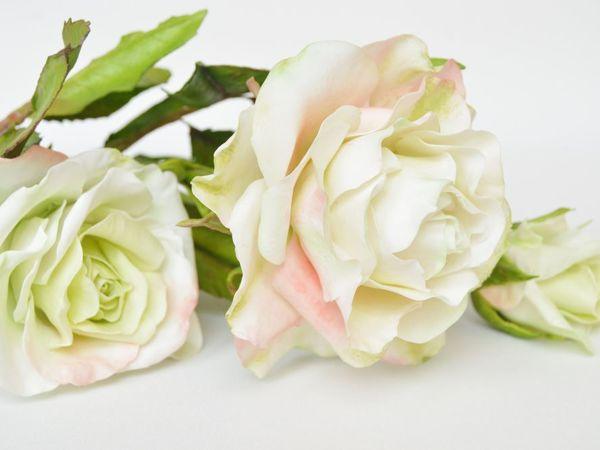 Ветка кустовой белой розы   Ярмарка Мастеров - ручная работа, handmade