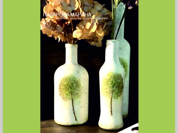 Декупаж бутылки с помощью влажной салфетки | Ярмарка Мастеров - ручная работа, handmade