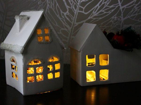 Новогодний домик из картона своими руками! Очень просто! | Ярмарка Мастеров - ручная работа, handmade