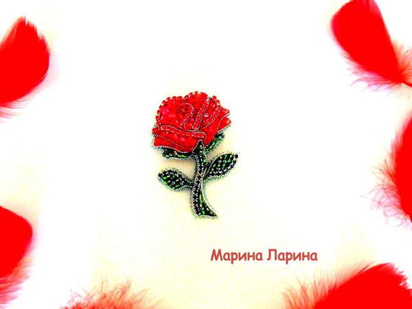 Создаем брошь  «Красная роза»  из бисера | Ярмарка Мастеров - ручная работа, handmade