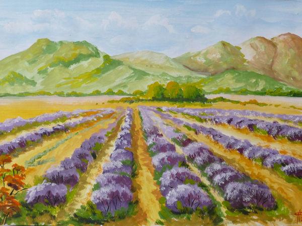 Рисуем лавандовое поле гуашью | Ярмарка Мастеров - ручная работа, handmade