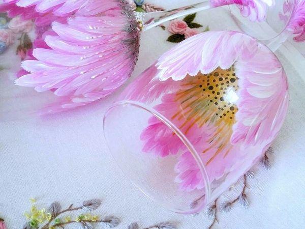 Цветок в бокале: простой и эффектный способ оформления бокалов для начинающих   Ярмарка Мастеров - ручная работа, handmade