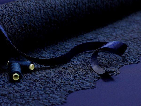 Остаток тено синего атласа плюс кружево в цвет. | Ярмарка Мастеров - ручная работа, handmade