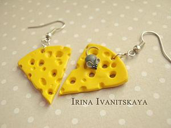DIY Cheese Earrings of Polymer Clay | Livemaster - handmade