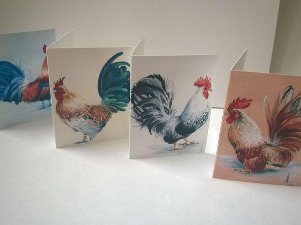 Новый набор мини-открыток с живописными петушками! | Ярмарка Мастеров - ручная работа, handmade