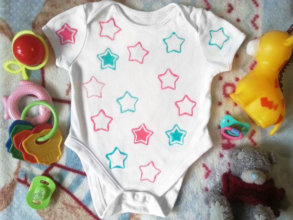 Украшаем яркими звездочками боди для малыша   Ярмарка Мастеров - ручная работа, handmade