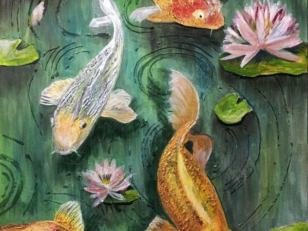Пишем картину маслом: Композиция с рыбками Кои | Ярмарка Мастеров - ручная работа, handmade