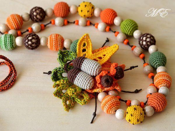Crochet Bright Necklace ''Autumn Bouquet'' | Livemaster - handmade