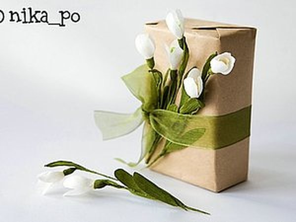 Подснежники из креповой бумаги | Ярмарка Мастеров - ручная работа, handmade