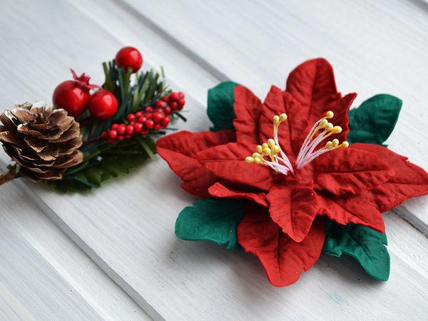 Создаем рождественский цветок из полимерной глины | Ярмарка Мастеров - ручная работа, handmade