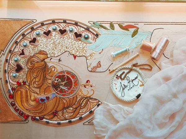 Люневильская вышивка Julie Romero по картине Alphonse Mucha | Ярмарка Мастеров - ручная работа, handmade
