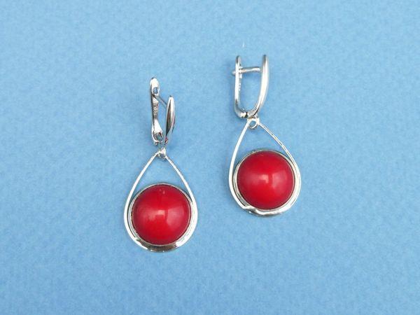Серьги и браслеты с красным кораллом   Ярмарка Мастеров - ручная работа, handmade