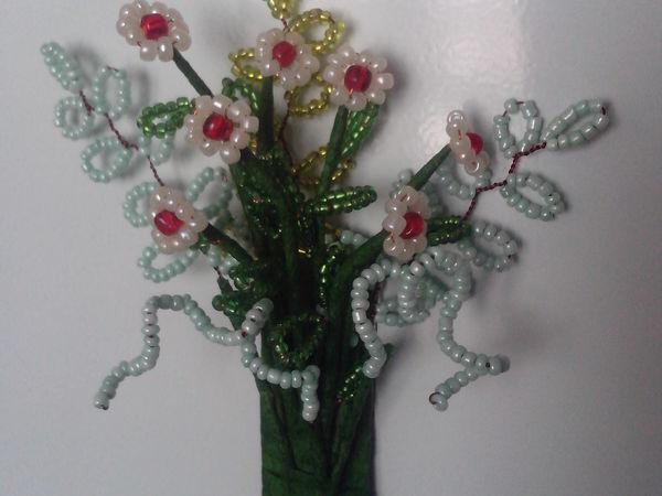 Плетем из бисера магнит «Ромашки» на холодильник | Ярмарка Мастеров - ручная работа, handmade