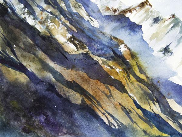 Пишем горный пейзаж акварелью | Ярмарка Мастеров - ручная работа, handmade