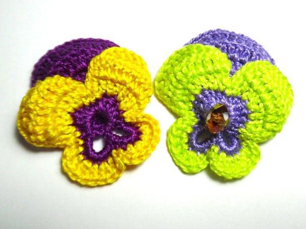 Вяжем крючком цветок «Анютины глазки» | Ярмарка Мастеров - ручная работа, handmade