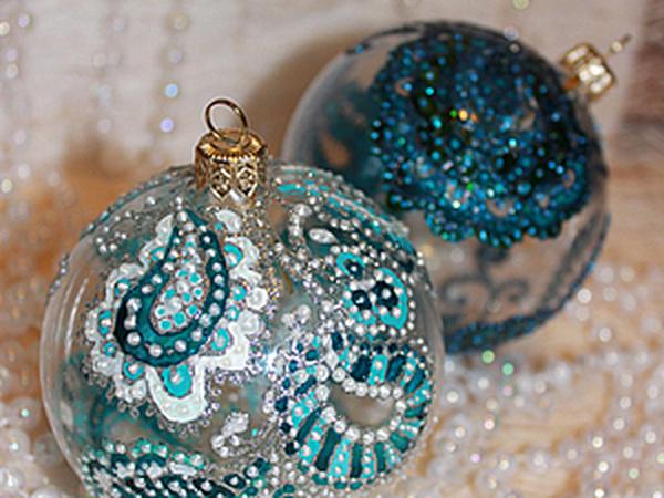Роспись новогоднего шара в смешанной технике. | Ярмарка Мастеров - ручная работа, handmade