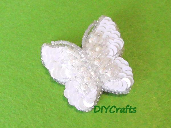 Создаем брошь «Бабочка» из пайеток и бисера | Ярмарка Мастеров - ручная работа, handmade