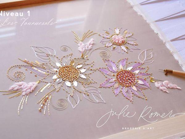 Цветы, вышитые люневильским крючком от Julie Romero   Ярмарка Мастеров - ручная работа, handmade