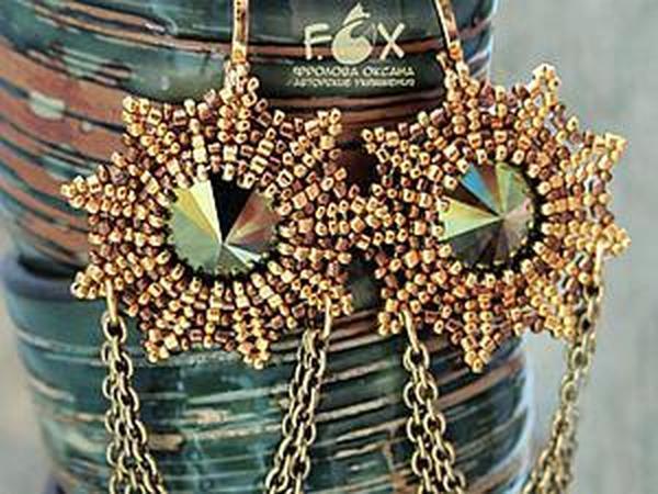 Оригинальное оплетение риволи на примере серег «Golden stars» | Ярмарка Мастеров - ручная работа, handmade