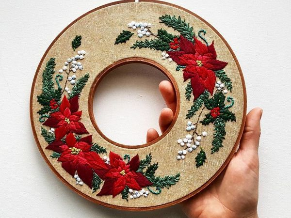 Unique Design of Double Hoop Embroidery by Jessica long | Livemaster - hecho a mano - handmade