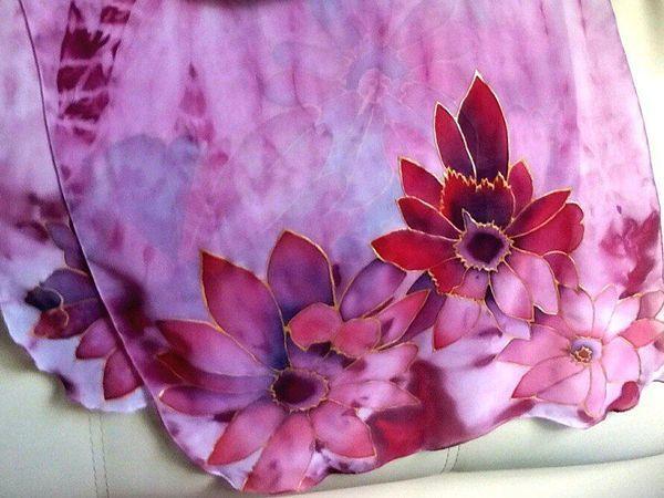 Мастер-класс: расписной шифоновый шарф «Цветущая фуксия» за два дня | Ярмарка Мастеров - ручная работа, handmade