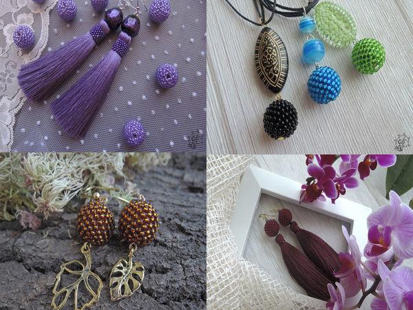 МК мозаичное оплетение, кулон. серьги-шарики, серьги-кисти | Ярмарка Мастеров - ручная работа, handmade