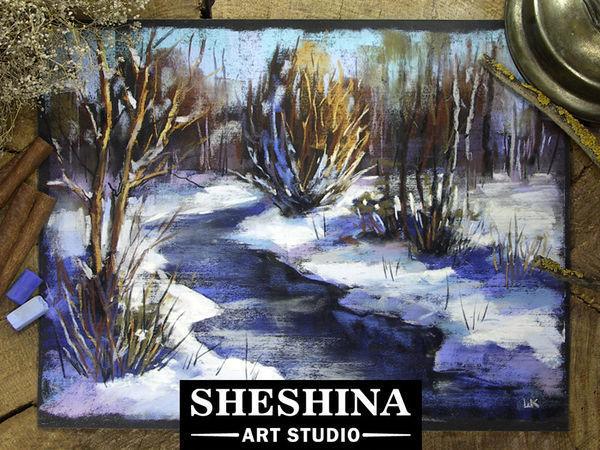 Видеоурок: рисуем зимний пейзаж сухой пастелью | Ярмарка Мастеров - ручная работа, handmade