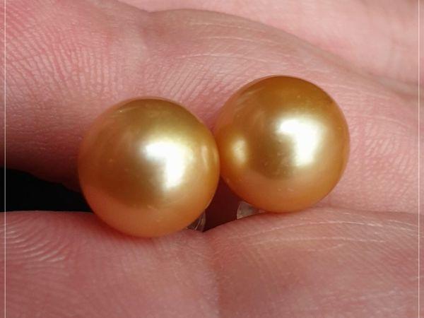 Золотые cерьги с морским жемчугом «Злата — 2» золото 750 пробы   Ярмарка Мастеров - ручная работа, handmade