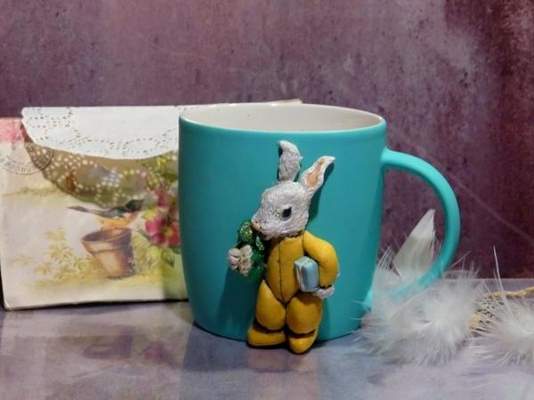 Декорируем кружку «Зайчонок» полимерной глиной | Ярмарка Мастеров - ручная работа, handmade